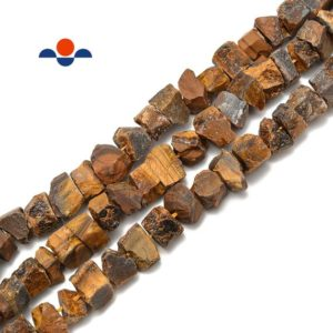 """Shop Tiger Eye Chip & Nugget Beads! Yellow Tiger Eye Rough Nugget Chunks Center Drill Beads 8-16mm 15.5"""" Strand 