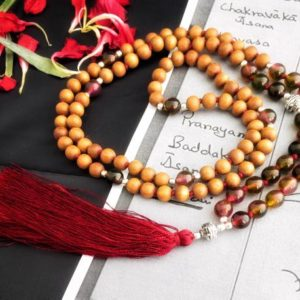 Sandalwood necklace for women, red tiger eye necklace for men, japa mala beads 108 mala necklace, prayer bead necklace, yoga lover gift | Natural genuine Gemstone necklaces. Buy handcrafted artisan men's jewelry, gifts for men.  Unique handmade mens fashion accessories. #jewelry #beadednecklaces #beadedjewelry #shopping #gift #handmadejewelry #necklaces #affiliate #ad