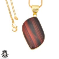 Iron Tiger's Eye 24k Gold Plated Pendant 3mm Italian Snake Chain Gph1389 | Natural genuine Gemstone jewelry. Buy crystal jewelry, handmade handcrafted artisan jewelry for women.  Unique handmade gift ideas. #jewelry #beadedjewelry #beadedjewelry #gift #shopping #handmadejewelry #fashion #style #product #jewelry #affiliate #ad