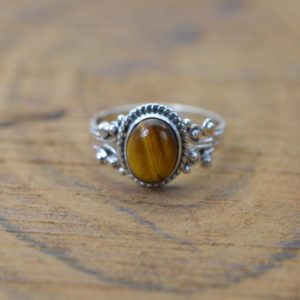 Shop Tiger Eye Jewelry! Tiger Eye 925 Sterling Silver Gemstone Ring | Natural genuine Tiger Eye jewelry. Buy crystal jewelry, handmade handcrafted artisan jewelry for women.  Unique handmade gift ideas. #jewelry #beadedjewelry #beadedjewelry #gift #shopping #handmadejewelry #fashion #style #product #jewelry #affiliate #ad