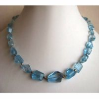 Blue Topaz Beads, Swiss Blue Topaz Necklace, Faceted Tumbles, 15mm To 8mm Each, 15 Inch Strand, 28 Pieces Approx | Natural genuine Gemstone jewelry. Buy crystal jewelry, handmade handcrafted artisan jewelry for women.  Unique handmade gift ideas. #jewelry #beadedjewelry #beadedjewelry #gift #shopping #handmadejewelry #fashion #style #product #jewelry #affiliate #ad