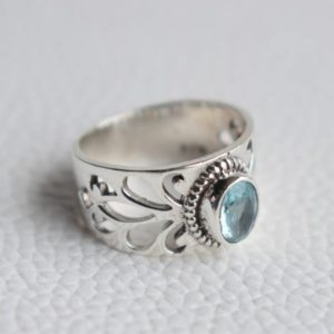 Shop Topaz Rings! Natural Blue Topaz Ring-Handmade Silver Ring-925 Sterling Silver Ring-Oval Blue Topaz Designer Band Ring-December Birthstone-Promise Ring | Natural genuine Topaz rings, simple unique handcrafted gemstone rings. #rings #jewelry #shopping #gift #handmade #fashion #style #affiliate #ad