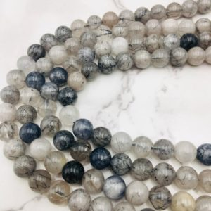 """Cloudy Black Tourmalinated Quartz Smooth Round Beads 6mm 8mm 10mm 12mm 15.5"""" Strand 