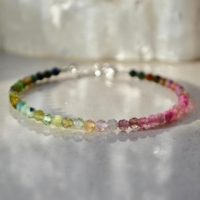 Rainbow Gemstone Bracelet, Tourmaline Ombre Bracelet, Bracelet Femme, Delicate Beaded Bracelet With Sterling Silver, Bridesmaids Gift | Natural genuine Gemstone jewelry. Buy crystal jewelry, handmade handcrafted artisan jewelry for women.  Unique handmade gift ideas. #jewelry #beadedjewelry #beadedjewelry #gift #shopping #handmadejewelry #fashion #style #product #jewelry #affiliate #ad