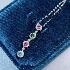 Shop Tourmaline Pendants! Dainty Tourmaline Necklace, Colorful Multi Stones Pendant Necklace, Handmade Necklace, 925 Sterling Silver Necklace, Jewelry, Gift for Her | Natural genuine Tourmaline pendants. Buy crystal jewelry, handmade handcrafted artisan jewelry for women.  Unique handmade gift ideas. #jewelry #beadedpendants #beadedjewelry #gift #shopping #handmadejewelry #fashion #style #product #pendants #affiliate #ad