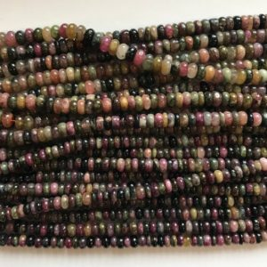 Shop Tourmaline Rondelle Beads! natural tourmaline 4mm 5mm 6mm roundell Beads–15.5 inch ,tourmaline bead/Gemstone Beads | Natural genuine rondelle Tourmaline beads for beading and jewelry making.  #jewelry #beads #beadedjewelry #diyjewelry #jewelrymaking #beadstore #beading #affiliate #ad