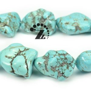 Shop Turquoise Chip & Nugget Beads! Turquoise,15 inch full strand blue turquoise nugget bead,chip bead 18-25×20-30mm | Natural genuine chip Turquoise beads for beading and jewelry making.  #jewelry #beads #beadedjewelry #diyjewelry #jewelrymaking #beadstore #beading #affiliate #ad