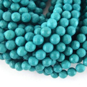 """Shop Turquoise Faceted Beads! 10mm Faceted Reconstituted Turquoise Round Beads – Sold by 14.5"""" Strands (~ 40 Beads) 