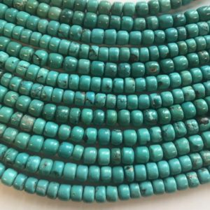 """Shop Turquoise Bead Shapes! 100% Natural Turquoise 6x(5-6)mm Cylindrical Gemstone Beads–15.5"""" 