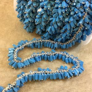 Shop Turquoise Bead Shapes! Silver Plated Copper Double Dangle Rosary Chain with 5-7mm Rectangle Syn. Turquoise Beads – Sold by the Foot Only – Natural Beaded Chain   Natural genuine other-shape Turquoise beads for beading and jewelry making.  #jewelry #beads #beadedjewelry #diyjewelry #jewelrymaking #beadstore #beading #affiliate #ad