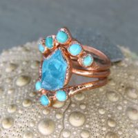 Alternative Engagement Rings, Turquoise Ring Set, Wedding Ring Set, Bands Stackable Raw Crystal Unique Present Minimalist Promise Ring | Natural genuine Gemstone jewelry. Buy handcrafted artisan wedding jewelry.  Unique handmade bridal jewelry gift ideas. #jewelry #beadedjewelry #gift #crystaljewelry #shopping #handmadejewelry #wedding #bridal #jewelry #affiliate #ad
