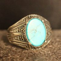 Sterling Silver 925 Turquoise Handmade Ring, Ottoman Style Ring, Silver 925 Men's Ring, Gift For Him, Silver Ring, Ottoman Style Ring | Natural genuine Gemstone jewelry. Buy crystal jewelry, handmade handcrafted artisan jewelry for women.  Unique handmade gift ideas. #jewelry #beadedjewelry #beadedjewelry #gift #shopping #handmadejewelry #fashion #style #product #jewelry #affiliate #ad
