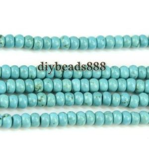 Shop Turquoise Rondelle Beads! Turquoise,15 inch full strand blue Turquoise smooth rondelle beads,abacus beads,space beads,gemstone beads 3x5mm   Natural genuine rondelle Turquoise beads for beading and jewelry making.  #jewelry #beads #beadedjewelry #diyjewelry #jewelrymaking #beadstore #beading #affiliate #ad