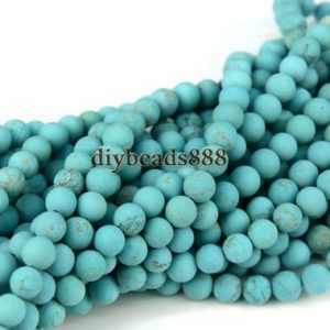 Shop Turquoise Round Beads! Turquoise,15 inch full strand blue Turquoise matte round beads,frosted beads,gemstone beads 4mm 6mm 8mm 10mm for Choice | Natural genuine round Turquoise beads for beading and jewelry making.  #jewelry #beads #beadedjewelry #diyjewelry #jewelrymaking #beadstore #beading #affiliate #ad