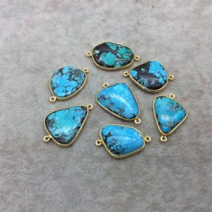 Shop Turquoise Stones & Crystals! Gold Plated Large Stabilized Brazilian Turquoise Freeform Shaped Bezel Connector – ~ 24mm -30mm Long – Sold Individually , Chosen At Random | Natural genuine stones & crystals in various shapes & sizes. Buy raw cut, tumbled, or polished gemstones for making jewelry or crystal healing energy vibration raising reiki stones. #crystals #gemstones #crystalhealing #crystalsandgemstones #energyhealing #affiliate #ad