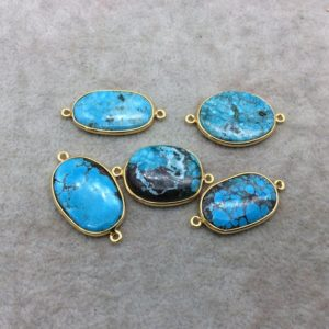 Shop Turquoise Stones & Crystals! Gold Plated Large Stabilized Brazilian Turquoise Freeform Oval Shape Bezel Connector ~ 22mm -24mm Long – Sold Per Each, At Random | Natural genuine stones & crystals in various shapes & sizes. Buy raw cut, tumbled, or polished gemstones for making jewelry or crystal healing energy vibration raising reiki stones. #crystals #gemstones #crystalhealing #crystalsandgemstones #energyhealing #affiliate #ad