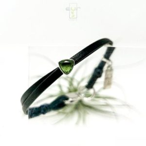 Twin Nappa leather sterling silver bezel set Moldavite bracelet, natural cut meteorite and leather bracelet, square lobster clasp, womens | Natural genuine Moldavite bracelets. Buy crystal jewelry, handmade handcrafted artisan jewelry for women.  Unique handmade gift ideas. #jewelry #beadedbracelets #beadedjewelry #gift #shopping #handmadejewelry #fashion #style #product #bracelets #affiliate #ad