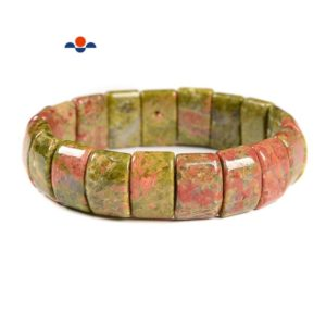 """Shop Unakite Bracelets! Unakite Double Drill Bracelet Beads Size Approx 11x15mm Length 7.5"""" 