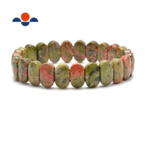 """Shop Unakite Bracelets! Unakite Faceted Oval Double Drilled Bracelet Size 8x14mm 7.5"""" Length 