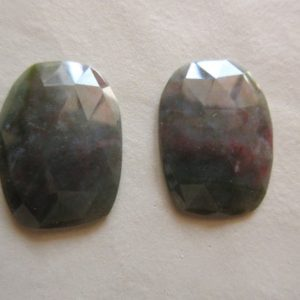 2 Pieces 30x22mm Each Unakite Rose Cut Matched Pairs Faceted Loose Cabochons Rcn2 | Natural genuine beads Gemstone beads for beading and jewelry making.  #jewelry #beads #beadedjewelry #diyjewelry #jewelrymaking #beadstore #beading #affiliate #ad
