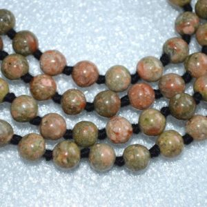 Shop Unakite Necklaces! Fertility Unakite Hand Knotted Cleansing Mala Beads Necklace – Energized Chakra Karma Nirvana Meditation 6-7 Mm 108 Prayer Beads | Natural genuine Unakite necklaces. Buy crystal jewelry, handmade handcrafted artisan jewelry for women.  Unique handmade gift ideas. #jewelry #beadednecklaces #beadedjewelry #gift #shopping #handmadejewelry #fashion #style #product #necklaces #affiliate #ad
