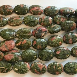 """Unakite 24x18x9mm Carved Oval Gemstone Beads–15.5""""–1 Strand / 3 Strands 