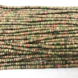 Genuine Unikite 2x4mm Heishi Green Pink Unakite Gemstone Loose Beads 15 inch Jewelry Supply Bracelet Necklace Material Support Wholesale | Natural genuine other-shape Gemstone beads for beading and jewelry making.  #jewelry #beads #beadedjewelry #diyjewelry #jewelrymaking #beadstore #beading #affiliate #ad