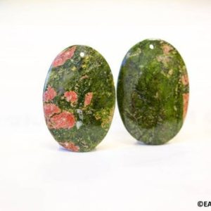 Shop Unakite Pendants! L/ Unakite 53x35mm Flat Oval Pendant,Natural Green With Red Pattern Jasper Smooth Oval Pendant, Top Front Drilled, Plan Back,Price Per Piece | Natural genuine Unakite pendants. Buy crystal jewelry, handmade handcrafted artisan jewelry for women.  Unique handmade gift ideas. #jewelry #beadedpendants #beadedjewelry #gift #shopping #handmadejewelry #fashion #style #product #pendants #affiliate #ad