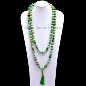 Natural VARISCITE 108 Beads Mala Necklace, 10 mm Variscite Round Beads Mala, knotted Tassel Necklace, Meditation Mala, Gemstone Japa Mala | Natural genuine Gemstone necklaces. Buy crystal jewelry, handmade handcrafted artisan jewelry for women.  Unique handmade gift ideas. #jewelry #beadednecklaces #beadedjewelry #gift #shopping #handmadejewelry #fashion #style #product #necklaces #affiliate #ad