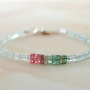 Shop Watermelon Tourmaline Bracelets! Watermelon Tourmaline Bracelet For Women Beaded Aquamarine Bracelet Silver Gemstone Jewelry Gift For Her Stacking Dainty Bracelet | Natural genuine Watermelon Tourmaline bracelets. Buy crystal jewelry, handmade handcrafted artisan jewelry for women.  Unique handmade gift ideas. #jewelry #beadedbracelets #beadedjewelry #gift #shopping #handmadejewelry #fashion #style #product #bracelets #affiliate #ad