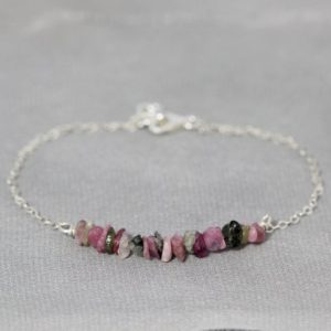 Shop Watermelon Tourmaline Bracelets! Watermelon Tourmaline Bracelet in Sterling Silver, Custom Birthstone Jewelry, Raw Gemstone Bracelet, Pink Green, Multicolored, Rose Gold | Natural genuine Watermelon Tourmaline bracelets. Buy crystal jewelry, handmade handcrafted artisan jewelry for women.  Unique handmade gift ideas. #jewelry #beadedbracelets #beadedjewelry #gift #shopping #handmadejewelry #fashion #style #product #bracelets #affiliate #ad