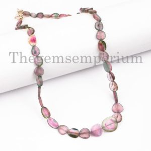 Shop Watermelon Tourmaline Beads! Top Quality Necklaces For Women, Extremely Rare Watermelon Tourmaline Nuggets Necklace, Natural Tourmaline Necklace, Slice Nuggets Necklace | Natural genuine chip Watermelon Tourmaline beads for beading and jewelry making.  #jewelry #beads #beadedjewelry #diyjewelry #jewelrymaking #beadstore #beading #affiliate #ad