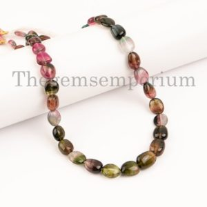 Shop Watermelon Tourmaline Beads! Valentine Gift, Natural Watermelon Tourmaline Smooth Nugget Necklace, Tourmaline Nuggets Necklace, AAA Quality Nuggets Necklace, Necklaces | Natural genuine chip Watermelon Tourmaline beads for beading and jewelry making.  #jewelry #beads #beadedjewelry #diyjewelry #jewelrymaking #beadstore #beading #affiliate #ad