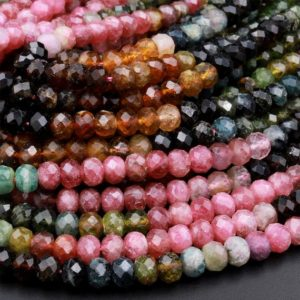 """Shop Watermelon Tourmaline Beads! AA Natural Multicolor Watermelon Tourmaline Micro Faceted Rondelle Beads 3mm 4mm 5mm 6mm Pink Green Blue Cognac Gemstone 15.5"""" Strand 
