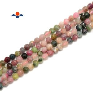 Shop Watermelon Tourmaline Beads! Natural Watermelon Tourmaline Faceted Round Beads Size 6mm 15.5'' Strand | Natural genuine faceted Watermelon Tourmaline beads for beading and jewelry making.  #jewelry #beads #beadedjewelry #diyjewelry #jewelrymaking #beadstore #beading #affiliate #ad