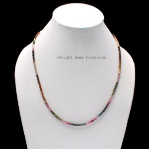 Shop Watermelon Tourmaline Necklaces! AAA++ Multi Tourmaline Necklace, 3mm Natural Watermelon Tourmaline Faceted Round Bead Necklace, Multi Color Tourmaline Necklace,Gift For Her | Natural genuine Watermelon Tourmaline necklaces. Buy crystal jewelry, handmade handcrafted artisan jewelry for women.  Unique handmade gift ideas. #jewelry #beadednecklaces #beadedjewelry #gift #shopping #handmadejewelry #fashion #style #product #necklaces #affiliate #ad