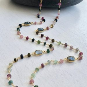 Watermelon Tourmaline Long Beaded Necklace, October Birthstone, Multicolor Gold Layering Necklace, Wire Wrapped Rosary Chain, Mom Wife Gift | Natural genuine Gemstone jewelry. Buy crystal jewelry, handmade handcrafted artisan jewelry for women.  Unique handmade gift ideas. #jewelry #beadedjewelry #beadedjewelry #gift #shopping #handmadejewelry #fashion #style #product #jewelry #affiliate #ad