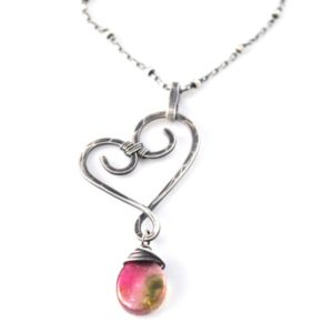 Shop Watermelon Tourmaline Necklaces! Watermelon Tourmaline Necklace, Small Hand Forged Artisan Heart Pendant, Unique October Birthstone Jewelry, Luxe Tourmaline Crystal Slices | Natural genuine Watermelon Tourmaline necklaces. Buy crystal jewelry, handmade handcrafted artisan jewelry for women.  Unique handmade gift ideas. #jewelry #beadednecklaces #beadedjewelry #gift #shopping #handmadejewelry #fashion #style #product #necklaces #affiliate #ad