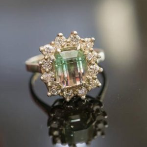 Shop Watermelon Tourmaline Rings! Watermelon Tourmaline Ring Bicolor Tourmaline Ring Engagement Ring Tourmaline Diamonds Accent Mid Century Ring One Of A Kind Ring | Natural genuine Watermelon Tourmaline rings, simple unique alternative gemstone engagement rings. #rings #jewelry #bridal #wedding #jewelryaccessories #engagementrings #weddingideas #affiliate #ad