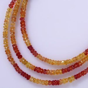 Natural Songea Sapphire Faceted Rondelle Beads Songea Sapphires Beads AAA Quality Songea Sapphire orange sapphire yellow sapphire | Natural genuine beads Array beads for beading and jewelry making.  #jewelry #beads #beadedjewelry #diyjewelry #jewelrymaking #beadstore #beading #affiliate #ad