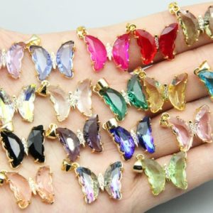 17 Colors Zircon Butterfly Pendants, for Jewelry Making Pendants, necklace Pendants, plated 18k Gold Pendant, wholesale Jewlery Pendants. | Natural genuine Gemstone jewelry. Buy crystal jewelry, handmade handcrafted artisan jewelry for women.  Unique handmade gift ideas. #jewelry #beadedjewelry #beadedjewelry #gift #shopping #handmadejewelry #fashion #style #product #jewelry #affiliate #ad
