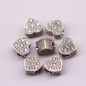Silver Plated Micro Pave Zircon Heart Charm Size 12x12x8mm Sold per Piece | Natural genuine stones & crystals in various shapes & sizes. Buy raw cut, tumbled, or polished gemstones for making jewelry or crystal healing energy vibration raising reiki stones. #crystals #gemstones #crystalhealing #crystalsandgemstones #energyhealing #affiliate #ad