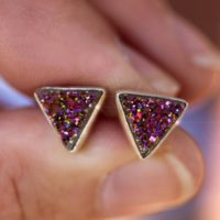 Over The Rainbow – Beautiful Agate Titanium Druzy (drusy) Geode Sterling Silver Earrings | Natural genuine Gemstone jewelry. Buy crystal jewelry, handmade handcrafted artisan jewelry for women.  Unique handmade gift ideas. #jewelry #beadedjewelry #beadedjewelry #gift #shopping #handmadejewelry #fashion #style #product #jewelry #affiliate #ad