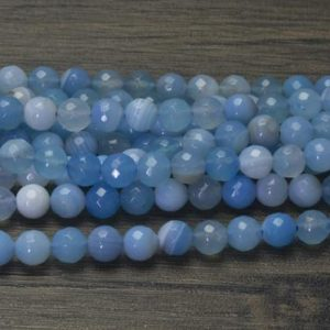 Shop Faceted Gemstone Beads! aqua blue  agate beads – blue agate beads – faceted round beads – blue gemstone  gemstone bead – gemstone faceted beads – 15inch | Natural genuine faceted Gemstone beads for beading and jewelry making.  #jewelry #beads #beadedjewelry #diyjewelry #jewelrymaking #beadstore #beading #affiliate #ad