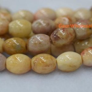 """Shop Agate Bead Shapes! 15.5"""" 8x10mm Morocco agate olive beads, Morocco agate rice beads, semi-precious stone, yellow DIY beads, 8x10mm barrel beads 