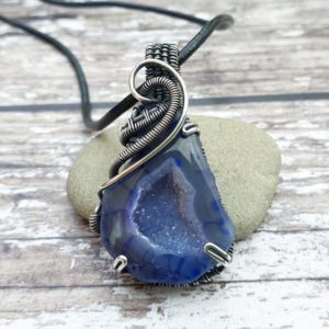 Shop Agate Pendants! Blue Druzy Pendant, Wire Wrapped Jewellery, Raw Stone Necklace, Agate Pendant   Natural genuine Agate pendants. Buy crystal jewelry, handmade handcrafted artisan jewelry for women.  Unique handmade gift ideas. #jewelry #beadedpendants #beadedjewelry #gift #shopping #handmadejewelry #fashion #style #product #pendants #affiliate #ad
