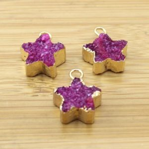 Shop Agate Pendants! HOt Pink Druzy Pendant. Star shape Geode Pendant.Star shape Pendant Agate Druzy Pendant- Gold Plated Edge – Druzy Pendant  -TR202   Natural genuine Agate pendants. Buy crystal jewelry, handmade handcrafted artisan jewelry for women.  Unique handmade gift ideas. #jewelry #beadedpendants #beadedjewelry #gift #shopping #handmadejewelry #fashion #style #product #pendants #affiliate #ad
