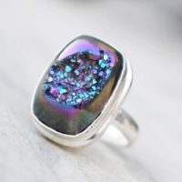 Natural Titanium Agate Druzy Ring , solid 925 Stering Silver Ring, purple Druzy Ring, titanium Druzy Ring, christmas Gift, boho Ring, love Gift | Natural genuine Gemstone jewelry. Buy crystal jewelry, handmade handcrafted artisan jewelry for women.  Unique handmade gift ideas. #jewelry #beadedjewelry #beadedjewelry #gift #shopping #handmadejewelry #fashion #style #product #jewelry #affiliate #ad