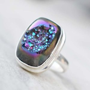 Shop Agate Rings! Natural Titanium Agate Druzy Ring ,Solid 925 Stering Silver Ring,Purple Druzy Ring,Titanium Druzy Ring,Christmas Gift,Boho ring,Love Gift   Natural genuine Agate rings, simple unique handcrafted gemstone rings. #rings #jewelry #shopping #gift #handmade #fashion #style #affiliate #ad
