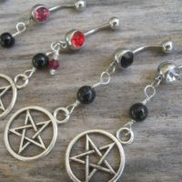 Pick One Pentacle Belly Ring, Black Agate Belly Button Ring, Birthstone Navel Piercing, Wicca Body Jewelry, Supernatural Pentagram Silver | Natural genuine Gemstone jewelry. Buy crystal jewelry, handmade handcrafted artisan jewelry for women.  Unique handmade gift ideas. #jewelry #beadedjewelry #beadedjewelry #gift #shopping #handmadejewelry #fashion #style #product #jewelry #affiliate #ad